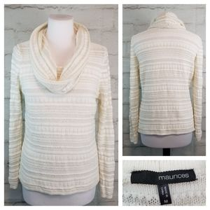 Maurices M White Gold Cowl Neck Thin Knit Sweater